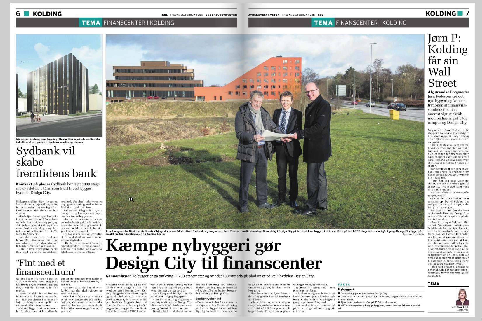 Pressefoto - Sydbank bygger nyt hovedkvarter i Kolding