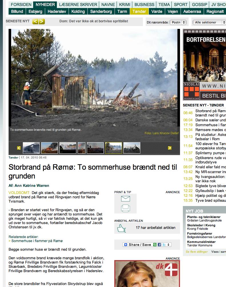 Brand i heden på Rømø