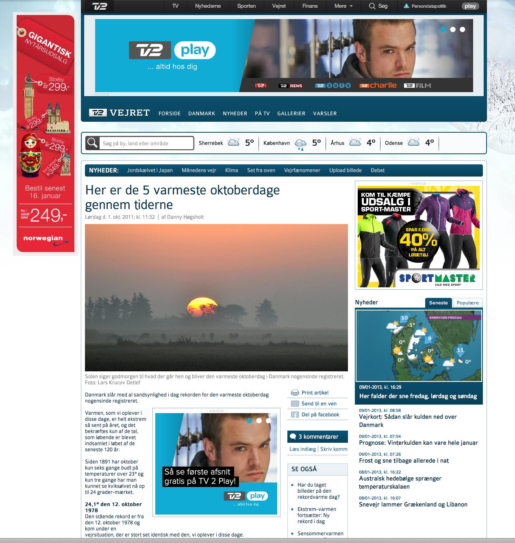 Et enkelt af de fotos der er brugt af TV2 Vejret.