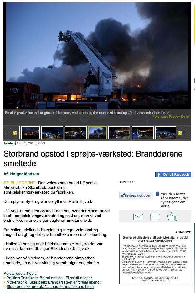 Brand hos Findahls Møbelfabrik i Skærbæk